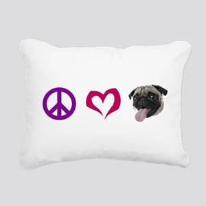 peacelovepugBLACK Rectangular Canvas Pillow