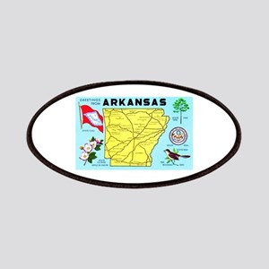 Arkansas Map Greetings Patches