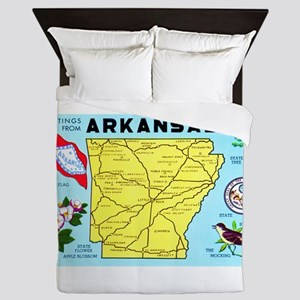 Arkansas Map Greetings Queen Duvet