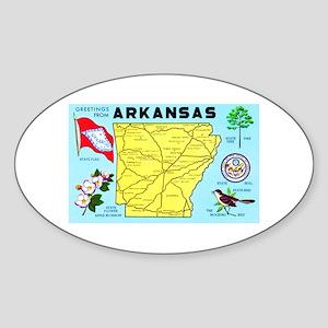 Arkansas Map Greetings Sticker (Oval)