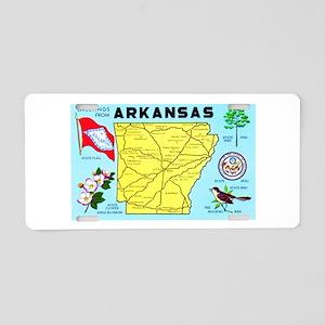 Arkansas Map Greetings Aluminum License Plate