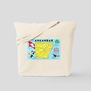 Arkansas Map Greetings Tote Bag