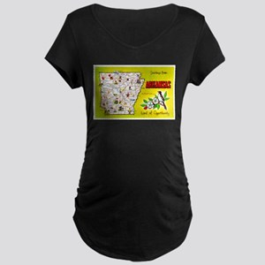 Arkansas Map Greetings Maternity Dark T-Shirt