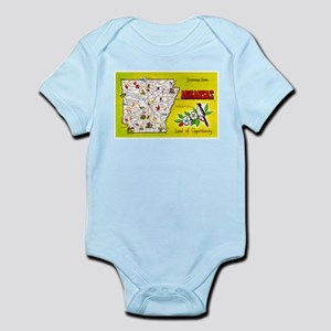 Arkansas Map Greetings Infant Bodysuit