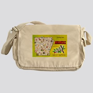 Arkansas Map Greetings Messenger Bag