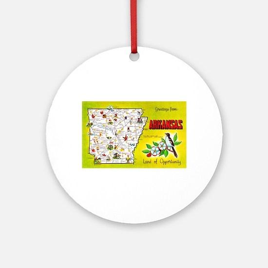 Arkansas Map Greetings Ornament (Round)