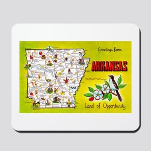 Arkansas Map Greetings Mousepad