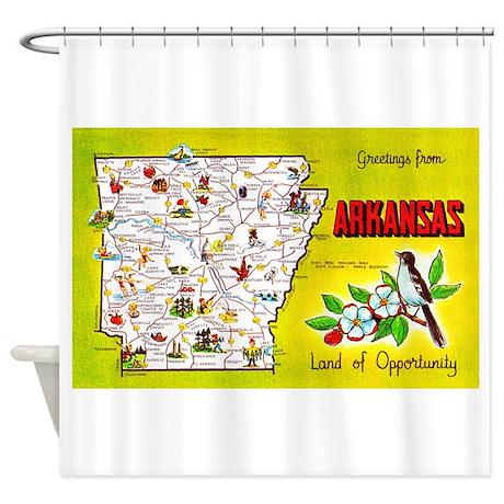 Attrayant Arkansas Map Greetings Shower Curtain
