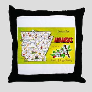 Arkansas Map Greetings Throw Pillow