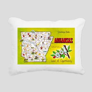 Arkansas Map Greetings Rectangular Canvas Pillow