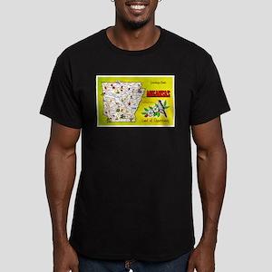 Arkansas Map Greetings Men's Fitted T-Shirt (dark)