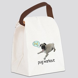 pugworkoutBLACK Canvas Lunch Bag