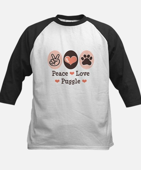 Peace Love Puggle Baseball Jersey