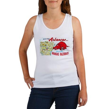 Arkansas Map Greetings Women's Tank Top