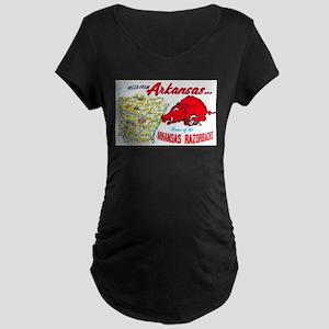 Arkansas Map Greetings Maternity Dark T-Shirt