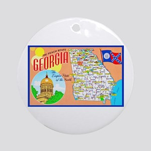 Georgia Map Greetings Ornament (Round)
