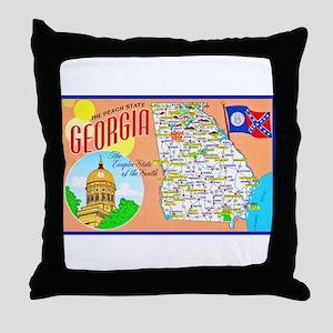 Georgia Map Greetings Throw Pillow