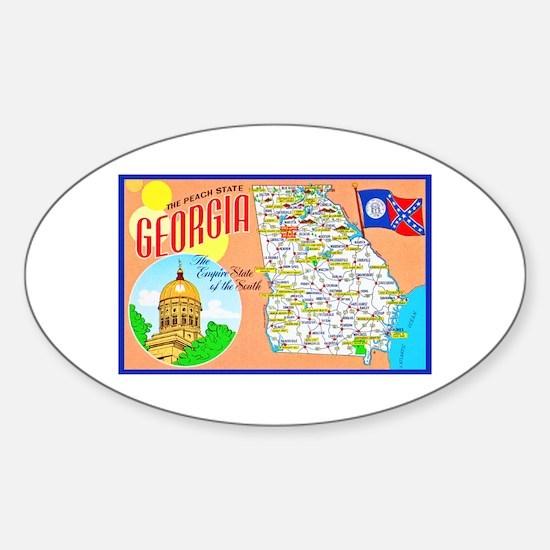 Georgia Map Greetings Sticker (Oval)