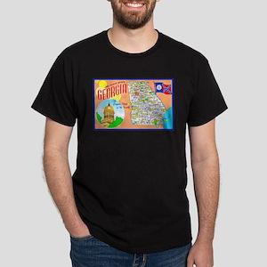 Georgia Map Greetings Dark T-Shirt