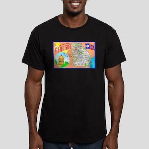 Georgia Map Greetings Men's Fitted T-Shirt (dark)