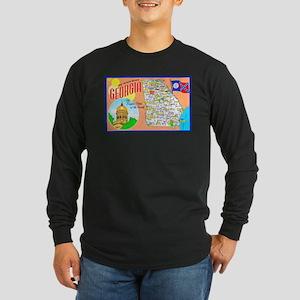 Georgia Map Greetings Long Sleeve Dark T-Shirt
