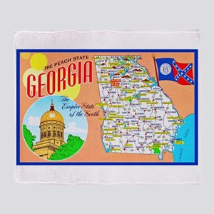 Georgia Map Greetings Throw Blanket