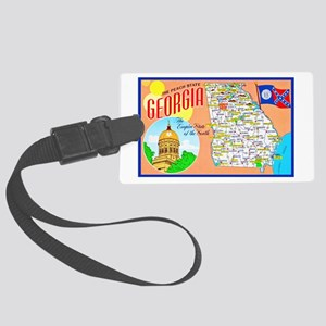 Georgia Map Greetings Large Luggage Tag