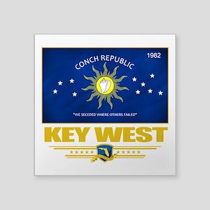 "Key West (Flag 10) Square Sticker 3"" x 3"""