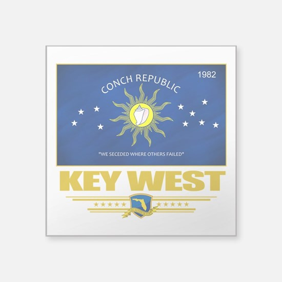 "Key West (Flag 10).png Square Sticker 3"" x 3"""