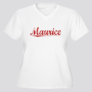 Maurice, Vintage Red Women's Plus Size V-Neck T-Sh