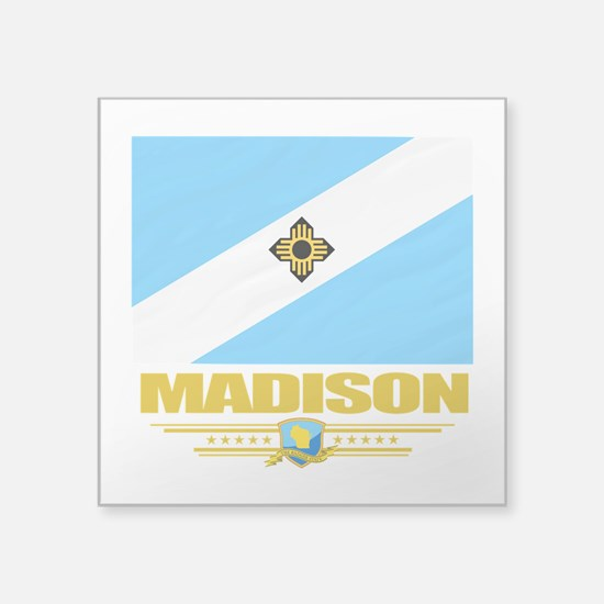"Madison (Flag 10).png Square Sticker 3"" x 3"""
