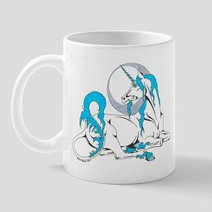 Silver Moon Blue Unicorn Mug
