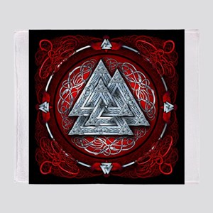 Norse Valknut Tapestry - Red Throw Blanket