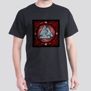 Norse Valknut Tapestry - Red Dark T-Shirt