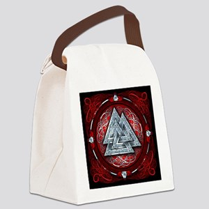Norse Valknut Tapestry - Red Canvas Lunch Bag