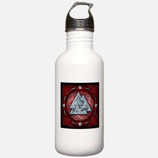 Norse Valknut Tapestry - Red Water Bottle