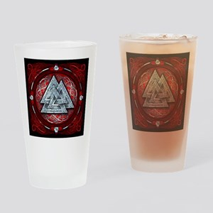Norse Valknut Tapestry - Red Drinking Glass