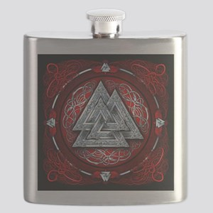 Norse Valknut Tapestry - Red Flask