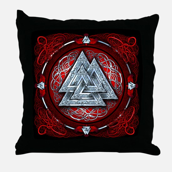 Norse Valknut Tapestry - Red Throw Pillow