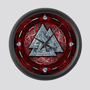 Norse Valknut Tapestry - Red Large Wall Clock