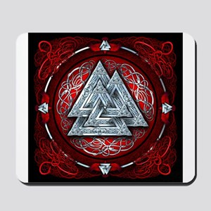 Norse Valknut Tapestry - Red Mousepad