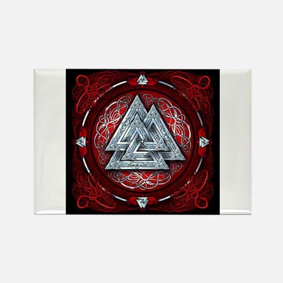 Norse Valknut Tapestry - Red Rectangle Magnet