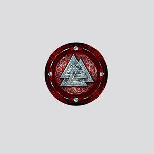 Norse Valknut Tapestry - Red Mini Button