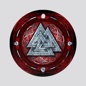 Norse Valknut Tapestry - Red Ornament (Round)