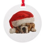 Funny Bulldog Christmas Round Ornament