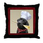 Black Labrador Chef Throw Pillow