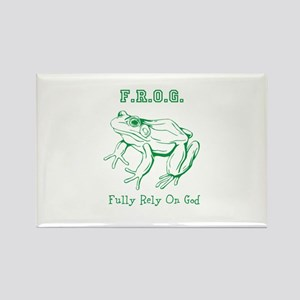 F.R.O.G. Fully Rely On God frog Rectangle Magnet