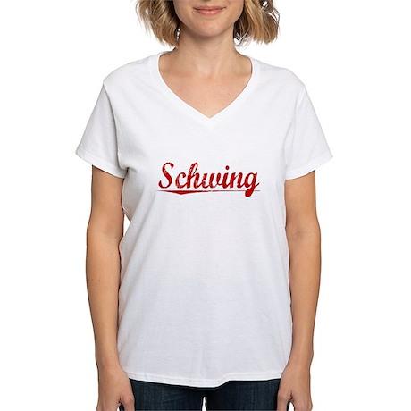 Schwing, Vintage Red Women's V-Neck T-Shirt