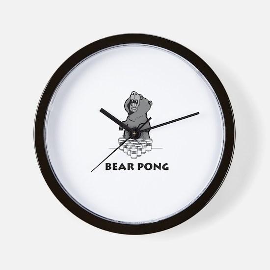 Bear Pong Wall Clock