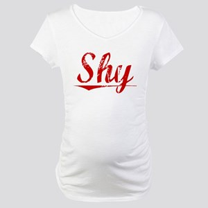 Shy, Vintage Red Maternity T-Shirt